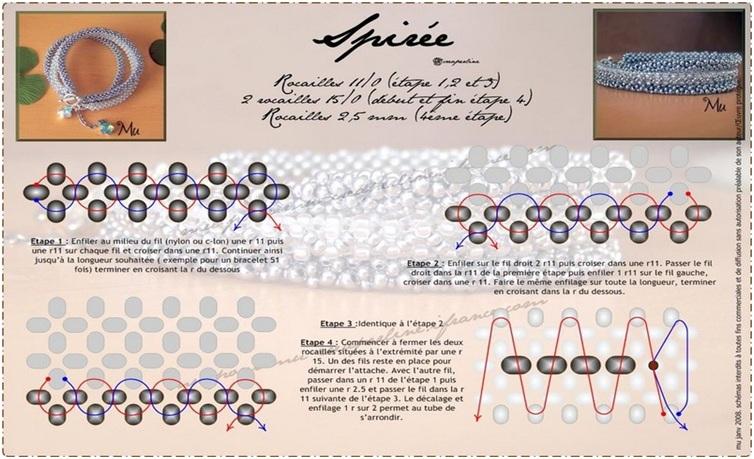 Схемы плетения браслетов из бисера.