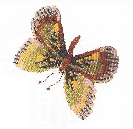 бабочка с зелеными кряльями из бисера.