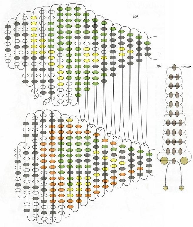 схема зеленой бабочки из бисера. схема плетения бабочки из бисера.