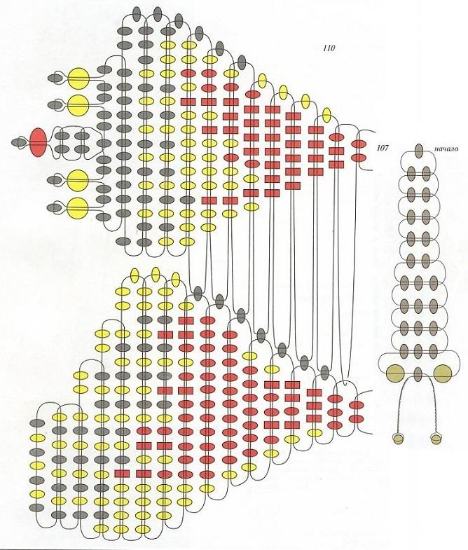 Вязаные туфельки для самых...  Часть 2 - Схемы плетение цветов из Бисера Часть 3.