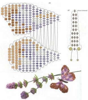 пятнистая бабочка из бисера. схема плетения пятнистой бабочки из бисера.