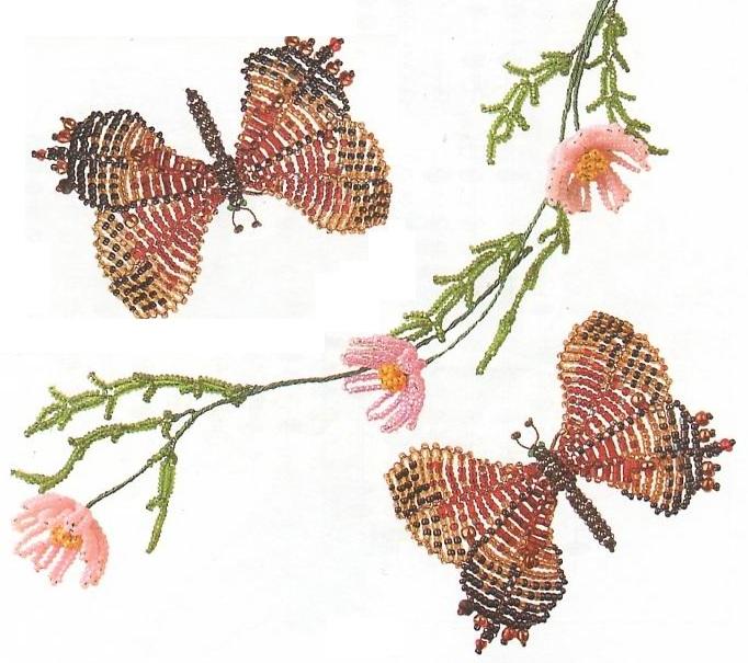 Бусины золотого, красного или черного цвета,диаметром 4- 5 мм - 10 шт.  Крылья выполнены из бисера и рубки в технике...
