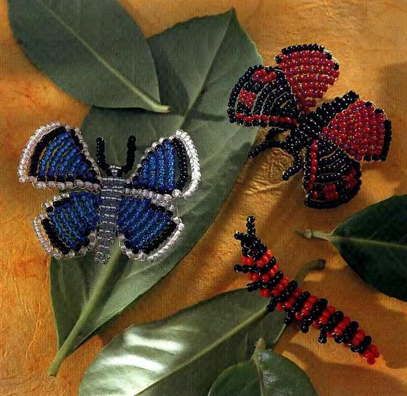 Бабочка лимонного цвета, сплетенная из бисера.  Простая схема плетения изделия из бисера.