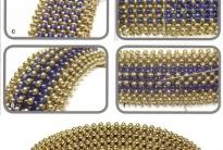 Браслеты из золотого и голубого бисера