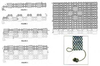 Схема плетения широкого браслета. Бисер