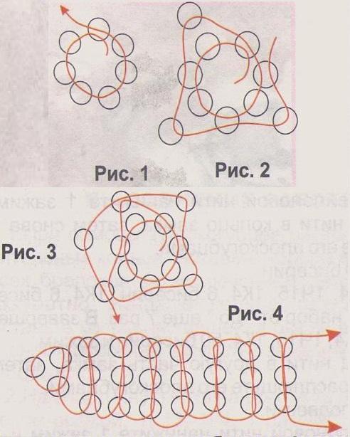 схема браслета с тюльпаном. плетем браслет из бисера с тюльпаном.