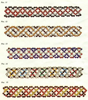 схема ажурных браслетов из бисера