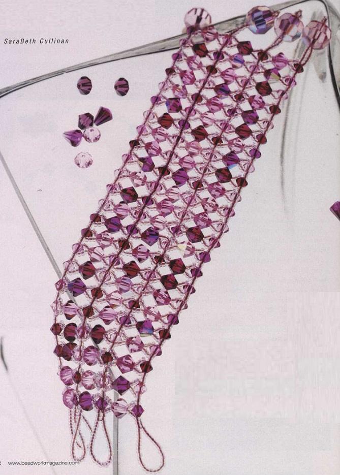 Широкий браслет из бисера и бусин.  Подробная и понятная схема поможет вам сплести браслет самостоятельно.