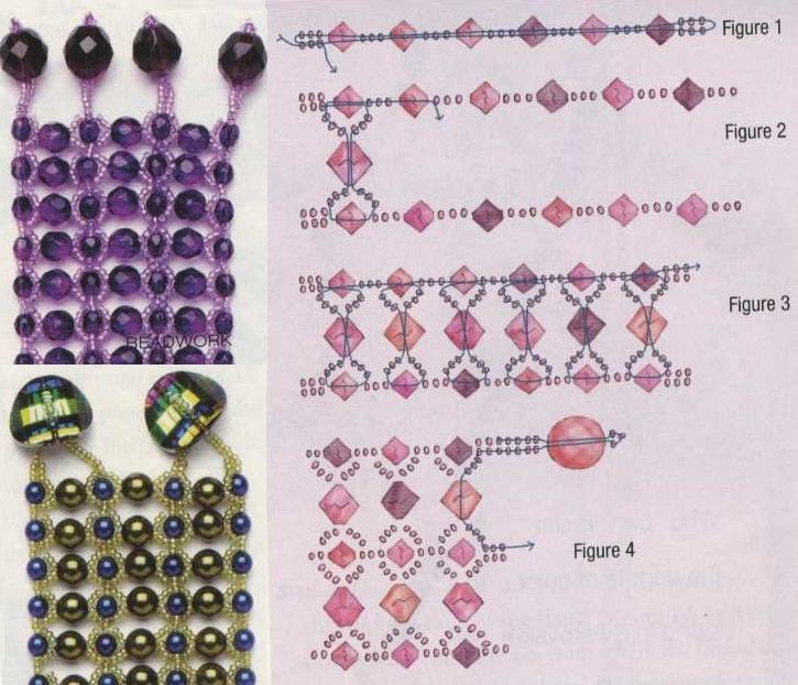 браслет из бисера и бусин разных цветов