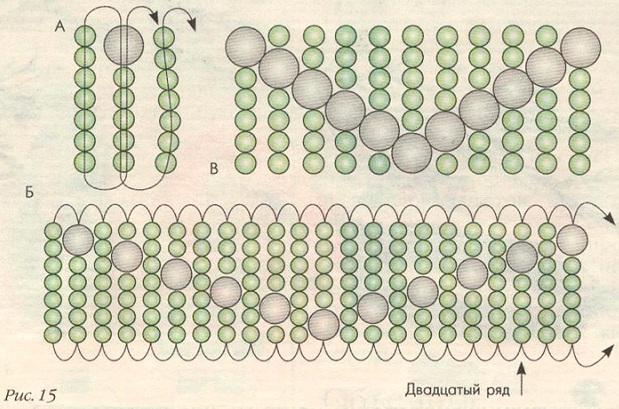 схема браслета зиг-заг. браслет зиг-заг из бисера.