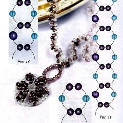 схема плетения кулона-колеса