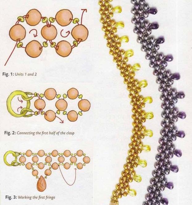 Для плетения золотистых бус вам понадобятся бусины, бисер и каплевидные кристаллы.  Низайте на леску или капроновую...