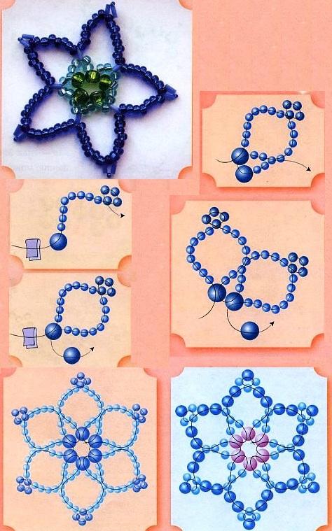 синий цветочек из бисера