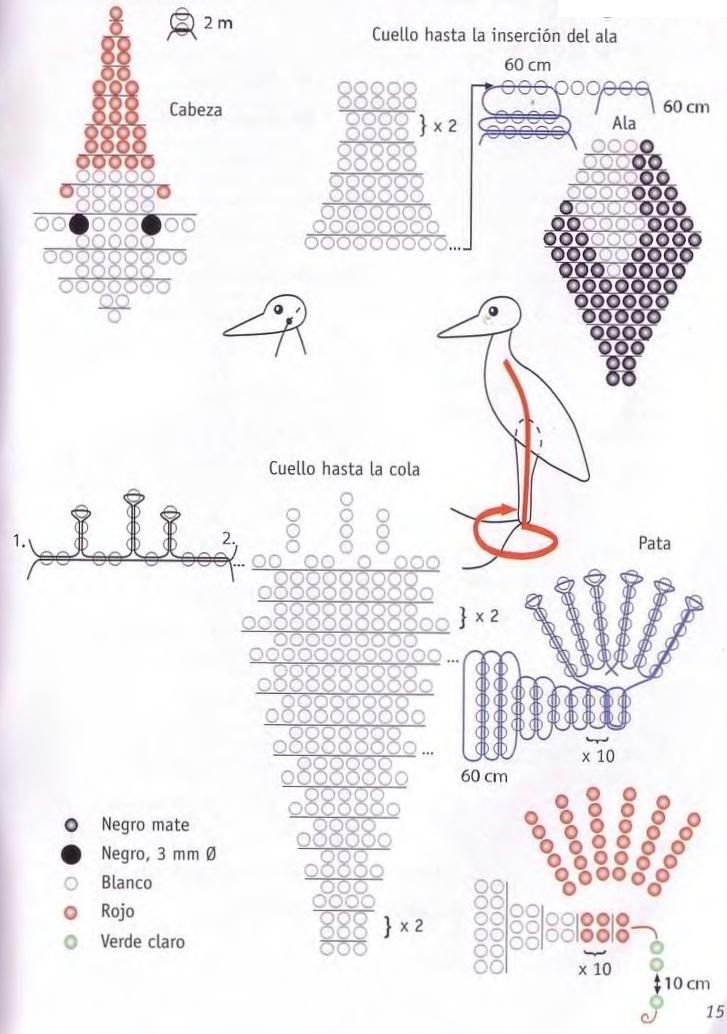 схема плетения аиста. красивый аист.