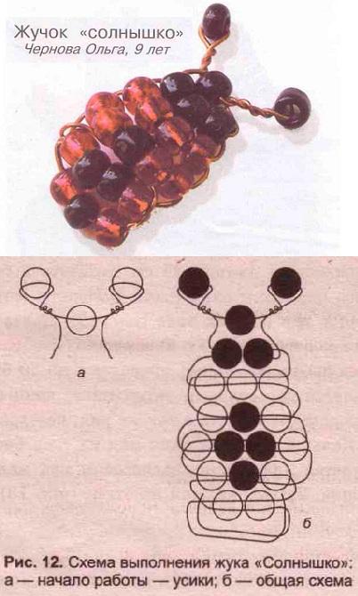 схема плетения божьей коровки