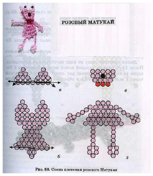 розовый матукай из бисера. схема плетения зверушки из бисера.