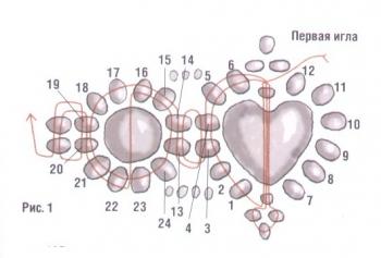 плетение кольца из бисера с сердечком