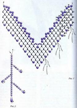плетение колье из золотого бисера