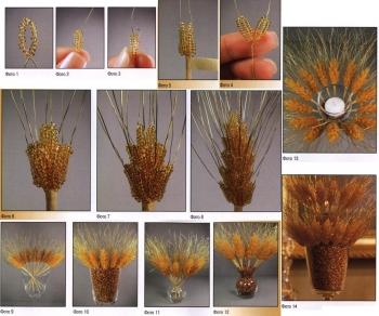 плетение колосков пшеницы из бисера