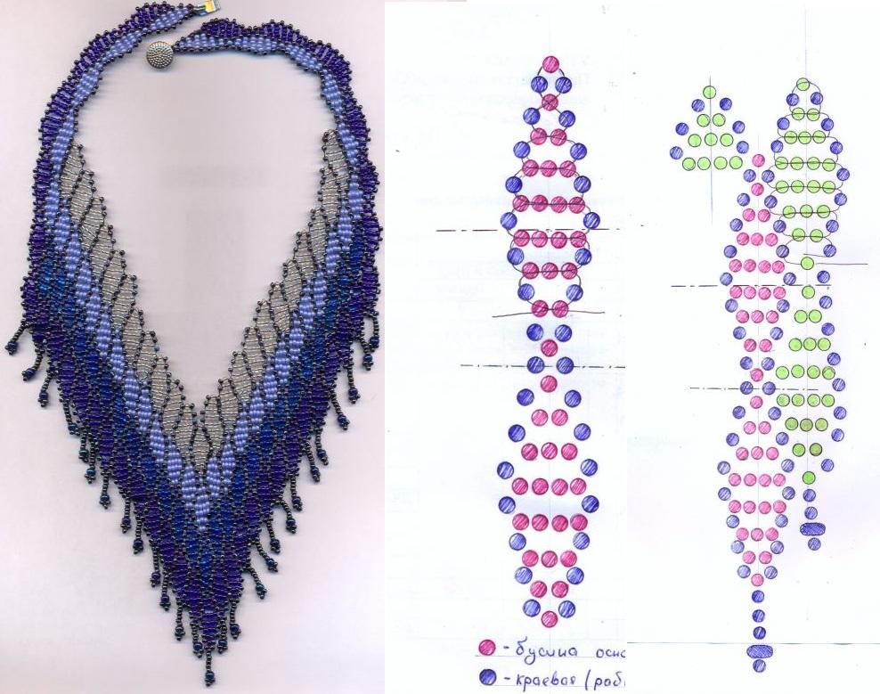 """Это ожерелье выполняется с помощью приема  """"каскад """".  Основное правило его плетения: дополнительные ряды выплетаются..."""