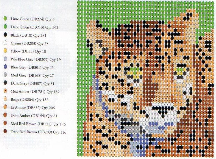 тигр из бисера схема плетения.