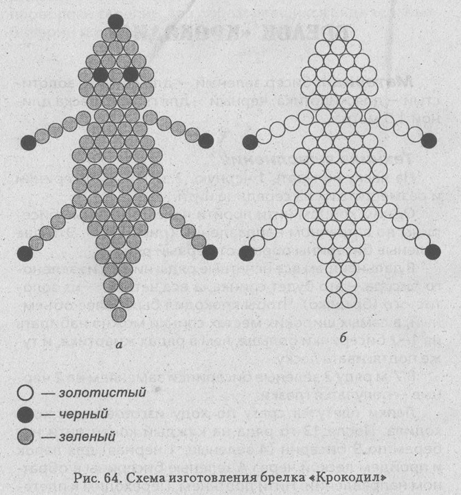 Схемы плетения крокодильчиков из бисера.