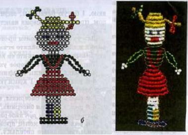 кукла в сарафане из бисера. схема плетения куклы из бисера.