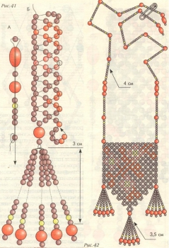 схема вишневого кулона из бисера