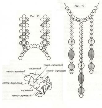 схема кулона с цветком сирени