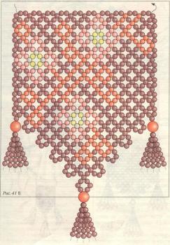 плетение кулона из вишневого бисера