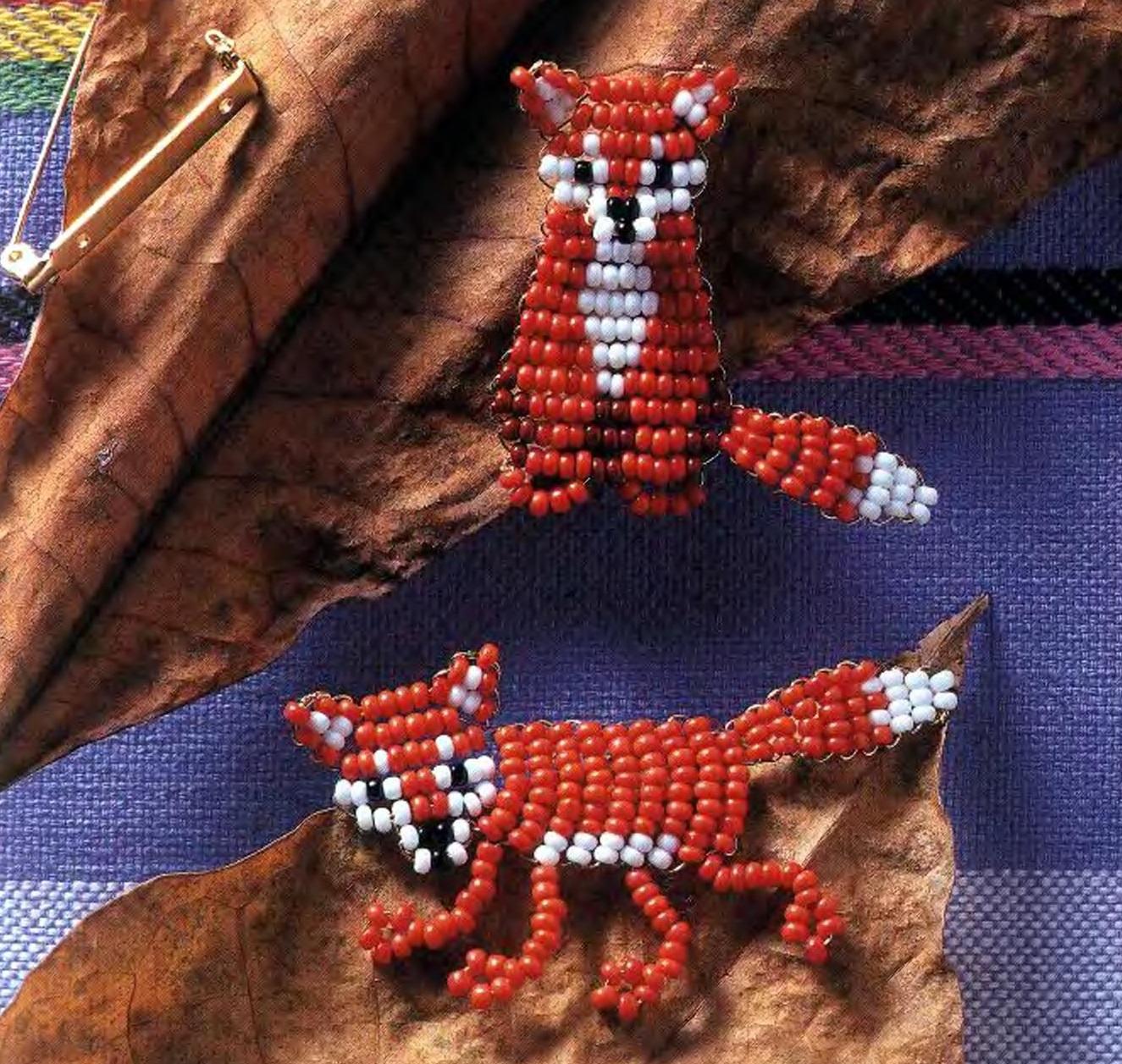 Объемная лиса из бисера.  Плоские фигурки лисы.