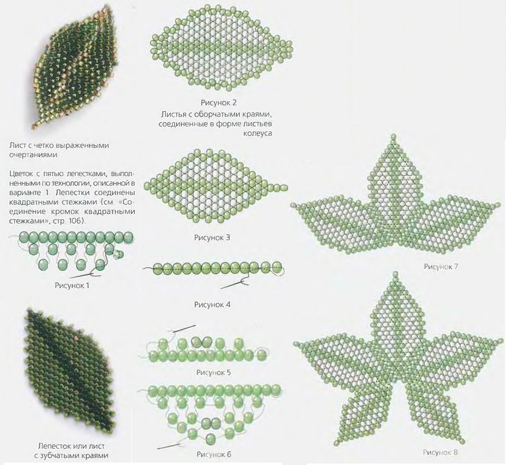 Отличные схемы из бисера для плетения листьев для цветов.