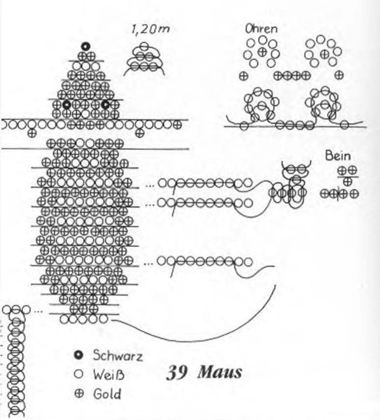 схема мышонка из бисера брелок 1.