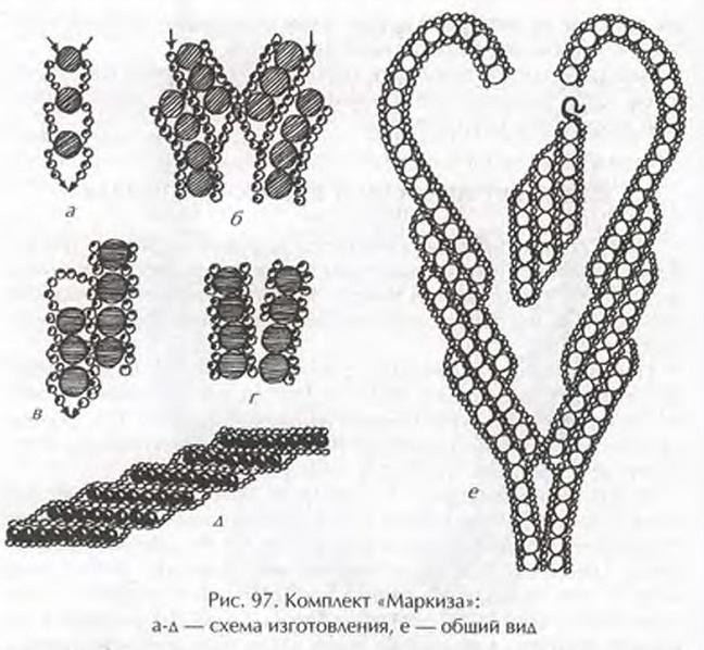 описание и схемы плетения).  Колье из бисера с цветочным мотивом.