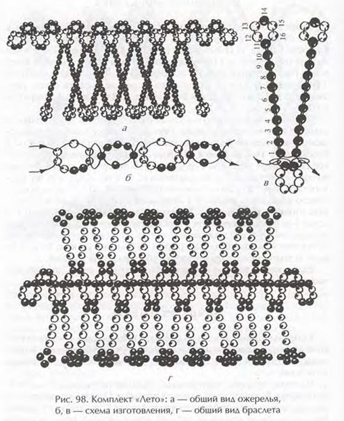 схема плетения летнего ожерелья из бисера
