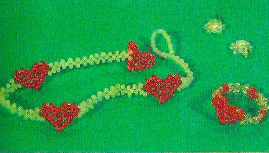 браслет и кольцо с сердечком из бисера. браслет и кольцо с сердечком.