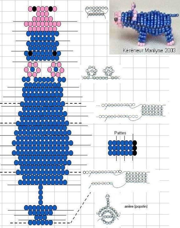 Плетение из бисера схемы плоские фигурки для начинающих