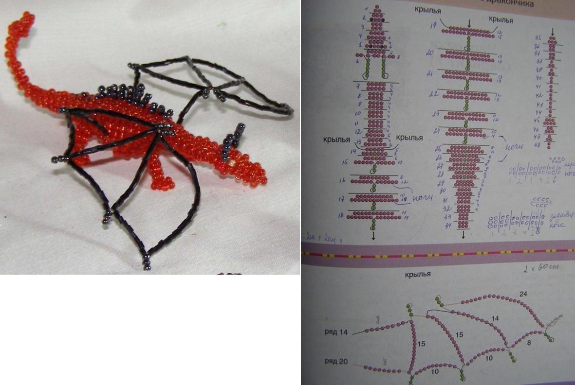 Мы будем делать из бисера дракона, у которого крылья плетутся на отдельной проволоке и крепятся к туловищу.