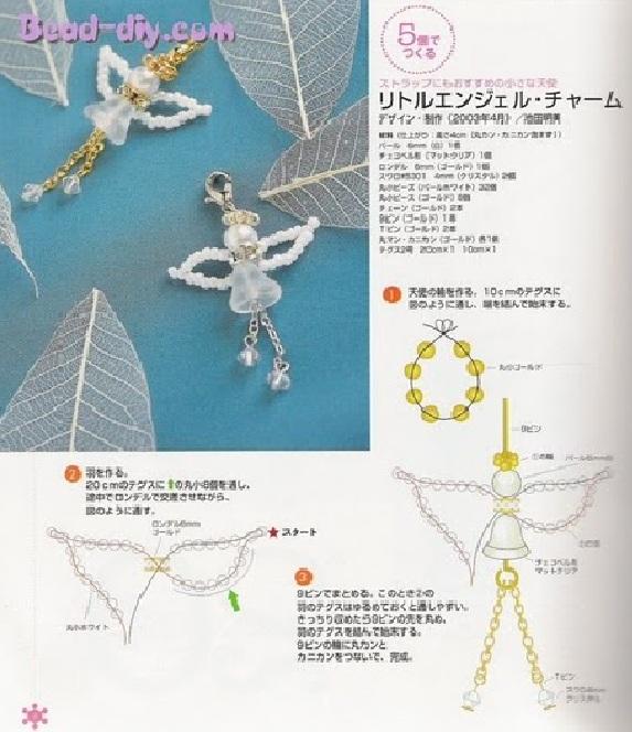 Для плетения нам нужно взять.  Очень простой и симпатичный ангелок из бисера, бусин и колокольчика.
