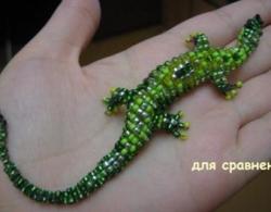 Вышивка ящерица бисером