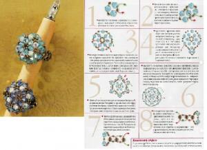 схема плетения колец из бисера.