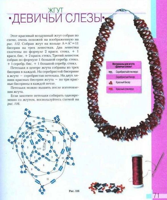 Схемы плетения из бисера - жгуты.