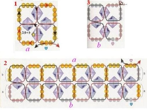 схему плетения и движение