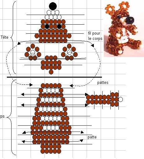 Схема его плетения: Медведь