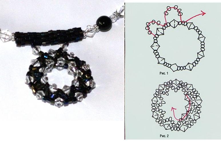 Черная подвеска из прозрачных кристаллов и черного бисера.  Контрастное сочетание черного и белого.