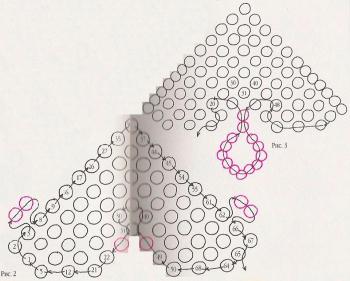 схема плетения разноцветных сердечек