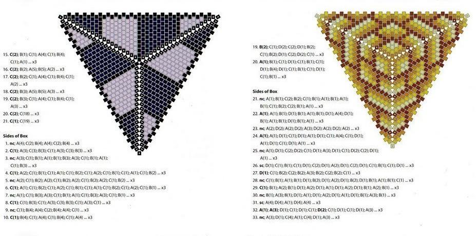 схема плетения треугольных кулонов.