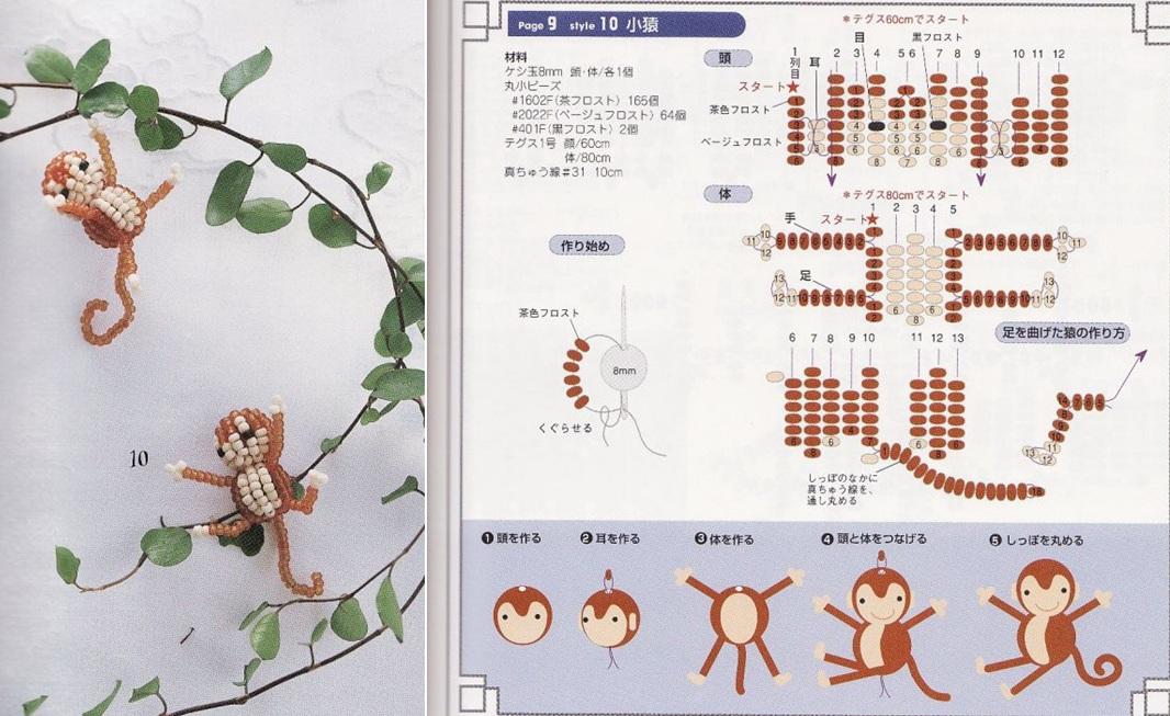 Схема обезьяны из бисера.