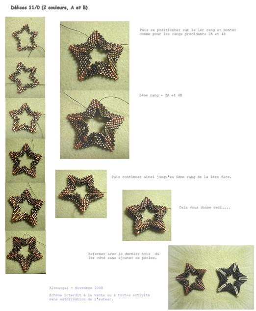 схема коричневой звезды из бисера.