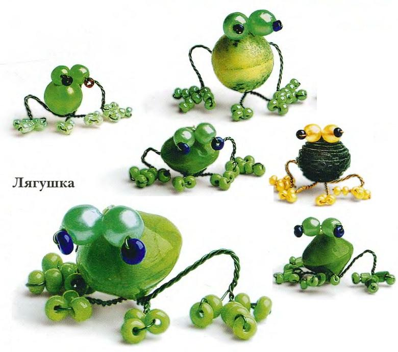 Разноцветные лягушки сплетенные из бисера.  Красивые брелки или сувениры своими руками.  Простая техника плетения.